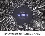 wines and gourmet snacks frame... | Shutterstock .eps vector #688267789