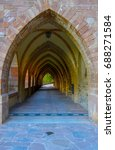 Small photo of Gothic medieval church stone arches. Arch cloister.
