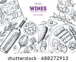 wines and gourmet snacks frame... | Shutterstock .eps vector #688272913