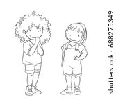 two young girls standing ... | Shutterstock .eps vector #688275349