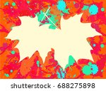 autumn maple leaves over bright ... | Shutterstock . vector #688275898