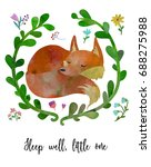 sleeping cub fox in floral... | Shutterstock .eps vector #688275988