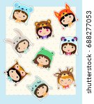 kawaii girls in animals hats.... | Shutterstock .eps vector #688277053
