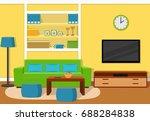 living room interior with green ... | Shutterstock . vector #688284838