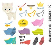 cute cartoon cat clothes bijou... | Shutterstock .eps vector #688286440