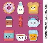 kawaii breakfast food design | Shutterstock .eps vector #688287538