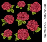 set embroidery red rose with... | Shutterstock .eps vector #688292380