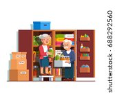 retired senior family couple... | Shutterstock .eps vector #688292560