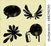 stencil shapes. editable vector ...   Shutterstock .eps vector #688298290