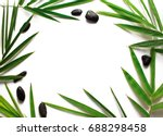blank page and bamboo leaf... | Shutterstock . vector #688298458