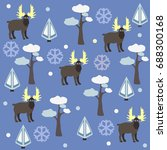 grey moose pattern with... | Shutterstock .eps vector #688300168