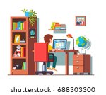 student boy sitting at home... | Shutterstock .eps vector #688303300