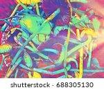magic mushroom neon colored... | Shutterstock . vector #688305130