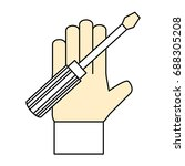 hand with tool | Shutterstock .eps vector #688305208