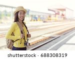 young asian woman smiling ... | Shutterstock . vector #688308319