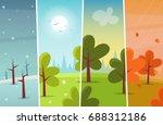 cartoon forest  four seasons.... | Shutterstock .eps vector #688312186