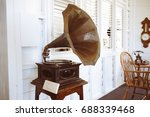 old gramophone for decorating... | Shutterstock . vector #688339468