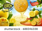 lemon sandwich cookies ad with... | Shutterstock .eps vector #688346338