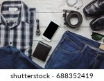 top view   flat lay accessories ... | Shutterstock . vector #688352419