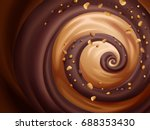 chocolate and caramel sauce... | Shutterstock .eps vector #688353430
