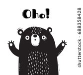 illustration with bear who says ... | Shutterstock .eps vector #688358428