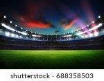 Empty Night Grand Stadium With...