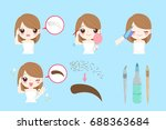 woman with eyebrow tattoo on... | Shutterstock .eps vector #688363684