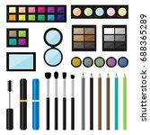set of make up cosmetics...   Shutterstock . vector #688365289