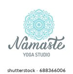 Namaste. Yoga Studio Logo With...