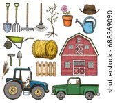 set of sketch colorful farming... | Shutterstock .eps vector #688369090