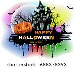 halloween night colorful... | Shutterstock .eps vector #688378393