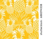cute pineapples background.... | Shutterstock .eps vector #688394338
