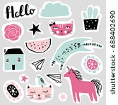 set of funny stickers in... | Shutterstock .eps vector #688402690