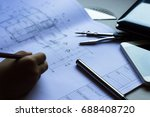 divider  pencil  pen  ruler ... | Shutterstock . vector #688408720