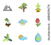ecology nature icons set.... | Shutterstock .eps vector #688409674