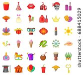 circus icons set. cartoon style ...   Shutterstock .eps vector #688415029
