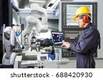 engineer using laptop computer... | Shutterstock . vector #688420930