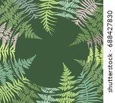 round fern frond frame vector... | Shutterstock .eps vector #688427830
