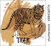 hand drawn sketch style tiger.... | Shutterstock .eps vector #688428574
