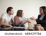 young indignant woman sitting... | Shutterstock . vector #688429786