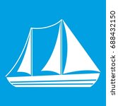 yacht icon white isolated on... | Shutterstock .eps vector #688432150
