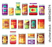 canned goods vector set. tinned ... | Shutterstock .eps vector #688436074