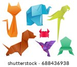 animals origami set japanese... | Shutterstock .eps vector #688436938