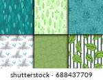 seamless pattern with leaves... | Shutterstock .eps vector #688437709