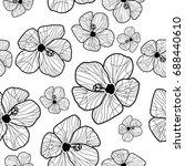 hibiscus flower seamless... | Shutterstock .eps vector #688440610