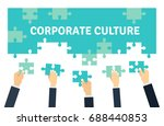employees holding and... | Shutterstock .eps vector #688440853