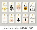 set of decorative christmas tags | Shutterstock .eps vector #688441600