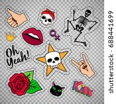 colorful quirky funny patches... | Shutterstock .eps vector #688441699