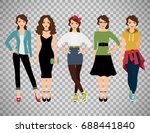 womans fashion styles vector...   Shutterstock .eps vector #688441840