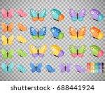 watercolor colors butterflies... | Shutterstock .eps vector #688441924
